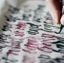 Ivan Castro, calligraphy and lettering.. A T, and pograph project by Christian Matsumoto - 03.27.2014