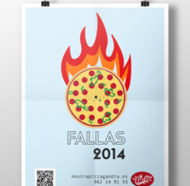 Poster promocional pizzería. Un proyecto de Publicidad y Diseño gráfico de Andrea Mestre         - 03.06.2014