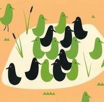 pensando en los pájaros. A Illustration, and Character Design project by Marianela Solis - 22-07-2013