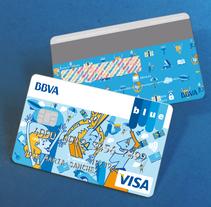 Tarjeta finalista en el concurso Blue BBVA . Un proyecto de Diseño, Ilustración, Br e ing e Identidad de Cristina J. Granados         - 05.09.2014