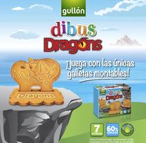 Gullón. PLV lanzamiento Dibus Dragons. Um projeto de Design, Ilustração, Direção de arte e Design gráfico de Patricia  Berthier - 30-06-2014