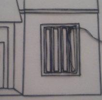 Casas Gemelas (2015) . Lápiz, hilo de algodón sobre papel.. Un proyecto de Bellas Artes de Pedro Miguel - 21-05-2015
