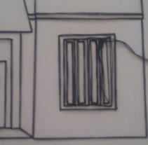 Casas Gemelas (2015) . Lápiz, hilo de algodón sobre papel.. A Fine Art project by Pedro Miguel         - 21.05.2015