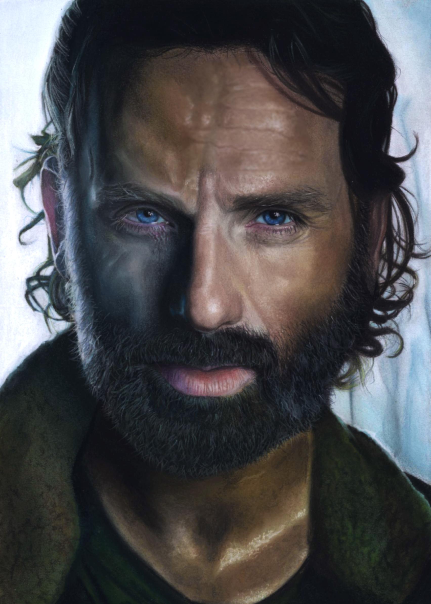 Retrato a pastel de Andrew Lincoln (Rick Grimes en Wlaking ...