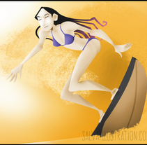 Zarautz Surf. Um projeto de Ilustração de Salvador Laserna Pla         - 09.07.2015