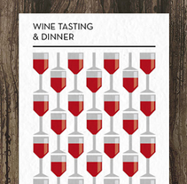 Wine tasting and dinner. A Illustration, and Graphic Design project by Claudia Domingo Mallol - 14-04-2015