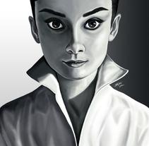 Retrato Audrey Hepburn. A Illustration, Painting, and Film project by Jorge M. Hernández Alférez         - 09.12.2012