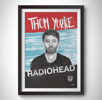 Póster Thom Yorke (Radiohead). A Design, Illustration, Fine Art, Graphic Design, and Screen-printing project by Juanjo-se Peñalver - 07-01-2016