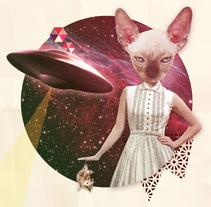 Collage retro, psychedelic cat. A Graphic Design, and Collage project by Diana Armisén Gracía-Santamarina         - 08.03.2016