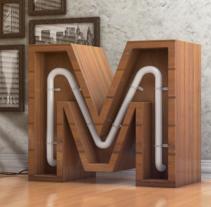 Arquitectura conceptual de la letra M con luces.. Um projeto de 3D de Lucas Lago         - 18.05.2016