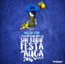 """Festa da auga 2016.     Imagen para """"Festa da Auga"""" en Vilagarcía de Arousa - GALICIA . Um projeto de Ilustração e Design gráfico de david lages  - 15-08-2016"""