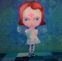 """Acrilíco sobre lienzo 50 x50cm """"Mi ángel"""". Un proyecto de Bellas Artes de Mariella Kampoy         - 18.09.2016"""