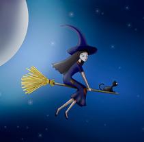 Ilustración digital: Witch and the moon. Un proyecto de Ilustración de Bonaria Staffetta         - 06.10.2016