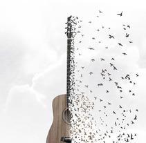 Cartel GuitarBirds. Um projeto de Design, Fotografia, Animação, Design gráfico, Pós-produção e Colagem de carmen novás         - 30.06.2016