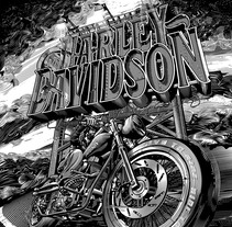 Harley Davidson . A Illustration, T, and pograph project by Abraham García         - 17.02.2017