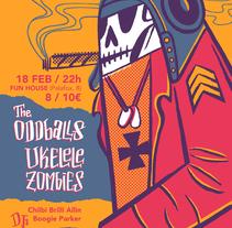 The Oddballs + Ukelele Zombies (Cartel concierto). Un proyecto de Ilustración de Luis Armand Villalba - 19-02-2017