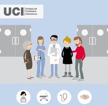 Guía de información  a los familiares  (Unidad de Cuidados Intensivos). Un proyecto de Ilustración de Mercedes CAMACHO         - 26.06.2017
