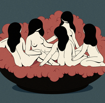 """""""The Virgin Suicides"""" Ilustración inspirada en el film """"The Virgin Suicides, 1999"""" de Sofia Coppola.. Un proyecto de Diseño, Ilustración, Diseño gráfico e Ilustración vectorial de Hugo Giner  - 07-07-2017"""