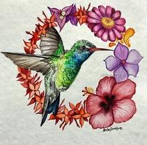 Colibri Huasteca potosina acuarela . A Design, Illustration, Fine Art, and Painting project by Héctor Armando Domínguez Rodríguez - 16-08-2017