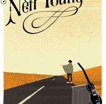 Mi Proyecto del curso: Cartelismo ilustrado. Neil Young toca hoy en mi pueblo.. A Vector illustration project by Aneta Tarmokas - 14-11-2017