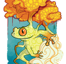 Autumn Tree Frog. A Design, Illustration, and Character Design project by Gema Moratilla         - 15.11.2017