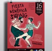 Cartel Fiesta Swing. Un proyecto de Diseño, Ilustración, Dirección de arte, Bellas Artes, Diseño gráfico y Retoque digital de Cristina Jiménez         - 28.11.2017