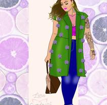 "Ilustración CURVY de Moda OI17 ""Chaleco Pompón""u. A Design, Fashion, Fine Art, and Graphic Design project by Lara Cuerdo Cabrera - 30-11-2017"