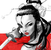 Onna Bugeisha - Mujer samurai.. A Illustration, Character Design, and Comic project by Josep Giró  - 13-12-2017