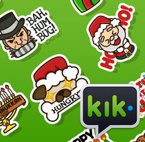 Happy Holidays set | Stickers for Kik Messenger. A Character Design, Interactive Design, Vector illustration&Icon design project by Squid&Pig  - 19-12-2017