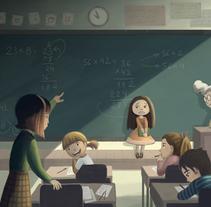 Kids at school. Un proyecto de Ilustración de Evelt Yanait         - 02.04.2018