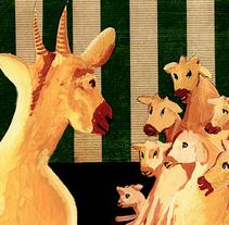 Les tres cabretes. Il·lustració infantil. Tècnica gouache.. A Illustration, Education, and Fine Art project by Miquel Oller Canet         - 14.04.2018